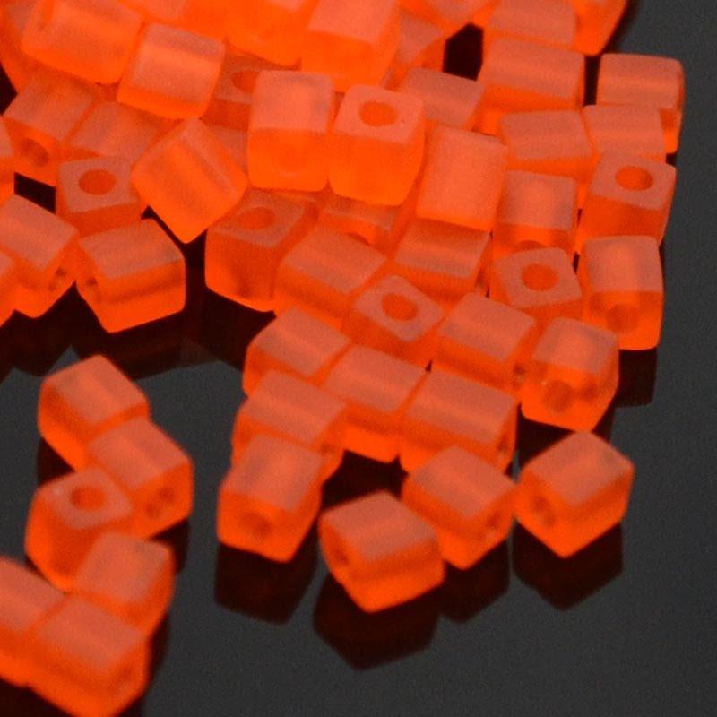 sb3-0138f Miyuki - 3 mm Japanese Cubes - Matte Screaming Orange