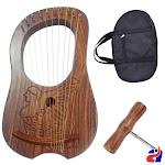 Lyre harp rosewood 10 metal strings Irish Queen