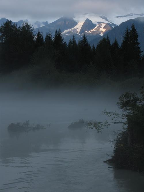 fog on the Mendenhall River, Juneau, Alaska