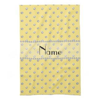 Personalized name pastel yellow diamonds kitchen towels