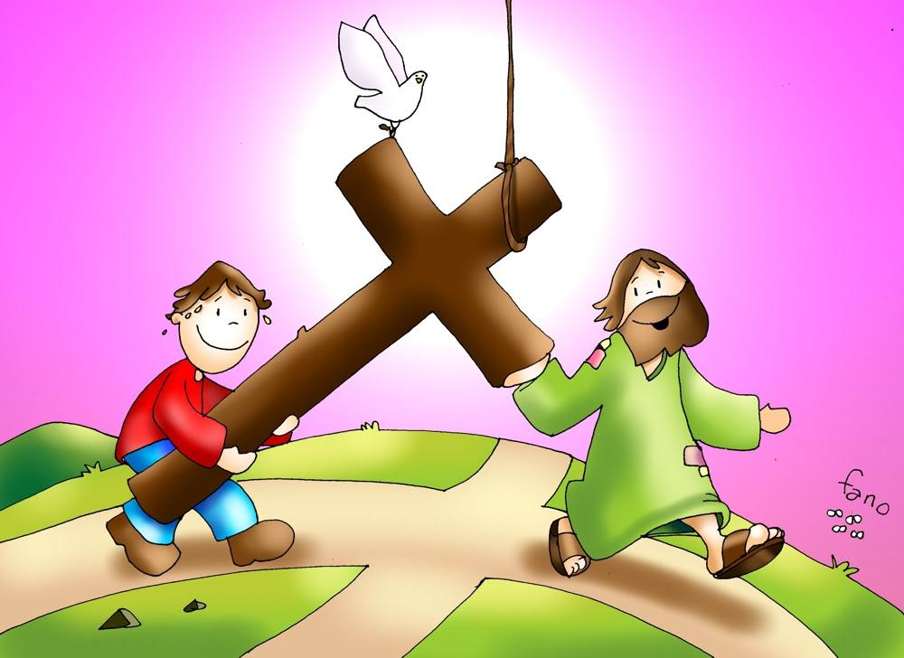 Resultado de imagen para imagen de fano niño y jesus cargando la cruz