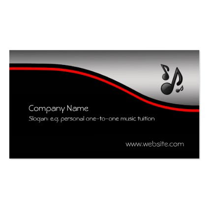 Musical Notes, red swoosh, metallic-look Double-Sided Standard Business Cards (Pack Of 100)