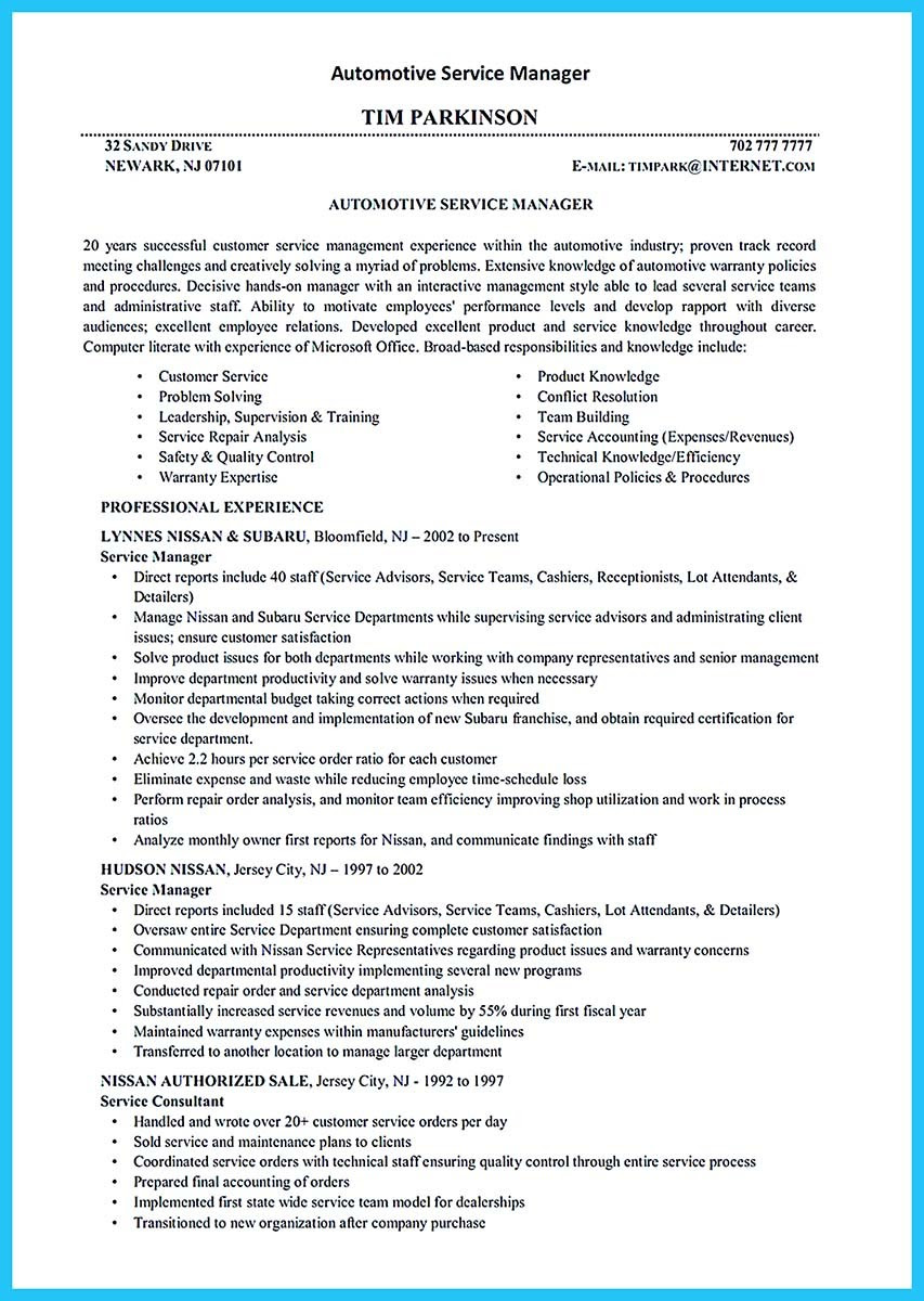Auto Mechanic Resume Job Description Resume For You