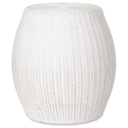 Large Outdoor Wicker Ottoman Pouf, 20 inch Dia. x 22 inchh, White