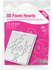 3D Foam Hearts - White Mix