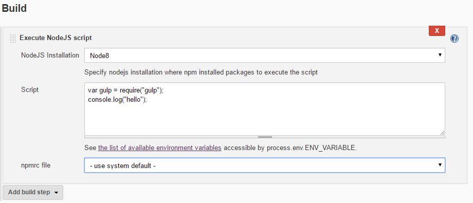 Ask Nodejs: Jenkins build automation unable to run gulp commands script