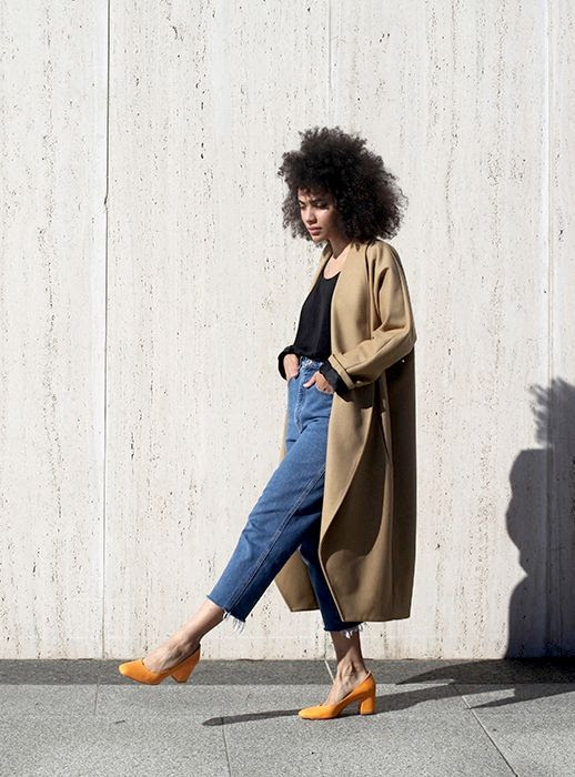 Le Fashion Blog Tan Coat Black Tank Top High Waisted Raw Hem Jeans Orange Suede Heels Via Man Repeller