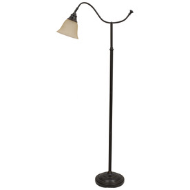 Shop Portfolio 59-in Bronze Floor Lamp with Linen Shade at Lowes.
