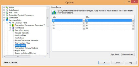 Fuzzy match grids in SDL Trados Studio