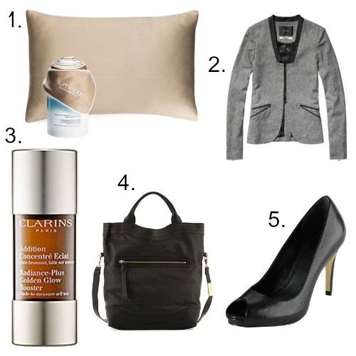 iLuminage Pillow - Maison Scotch Blazer - Clarins Glow Booster - Foley and Corinna Bag - Cole Haan Shoes