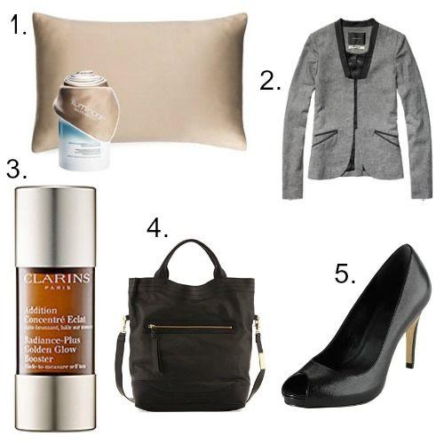 iLuminage Pillow - Maison Scotch Blazer - Clarins Glow Booster - Foley and Corinna Bag - Cole Haan Shoes