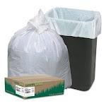 13 Gallon White Garbage Bags, 24x33, 0.85mil, 150 Bags (WBIRNW1K150V)