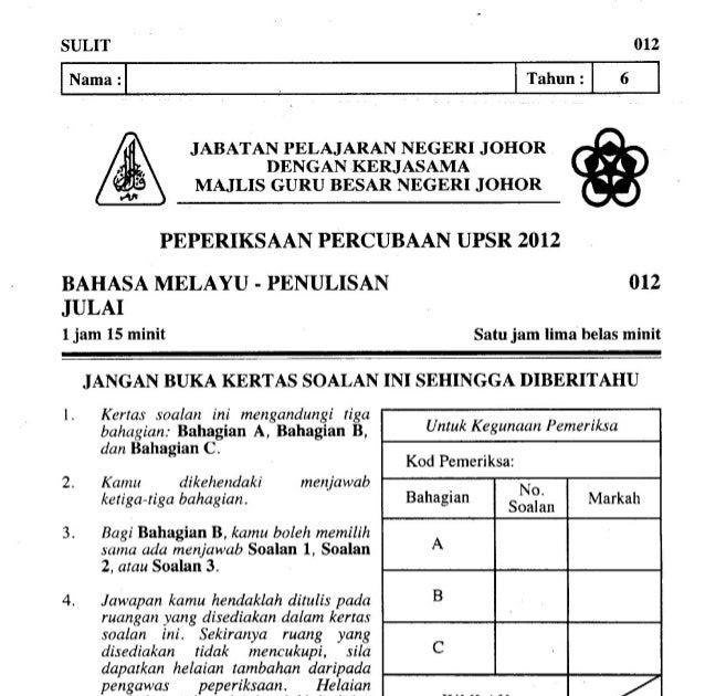Kertas Soalan Percubaan Bahasa Melayu Pt3 2017 Soalan A