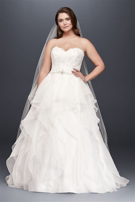 Plus Size Strapless Lace and Organza Ball Gown Wedding