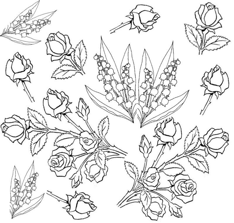 Dibujo Para Colorear Relajante Flores Rosas Y Lirios 5