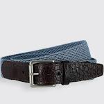Hampton Stretch Belt with Croc Print Tabs - Steel Blue