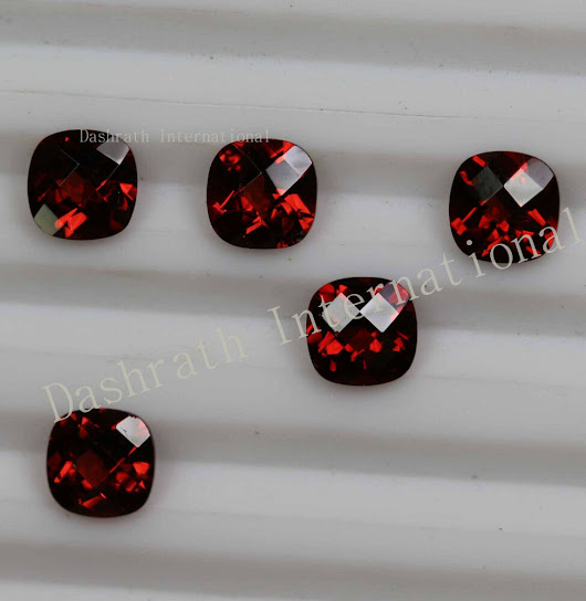 Details about  4MM to 8MM CALIBRATED SIZE NATURAL RED GARNET CHECKERBOARD CUT CUSHION GEMSTONES