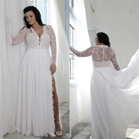 Plus Size Wedding Dresses With Split Sheath Plunging V