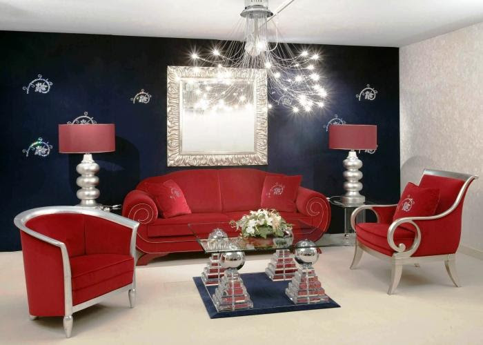 15 Black, Red and White Themed Living Rooms - Rilane