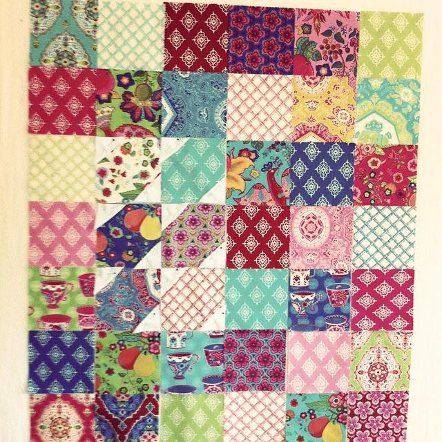 Monique's quilt - design wall