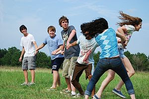 English: Youths playing the Red Rover game.