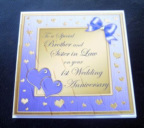 Brother & Sister In Law 1st Wedding Anniversary Card   4