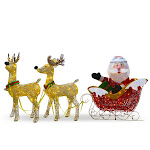 National Tree 34 inch Santa and Reindeer with Clear Lights - National Tree - DF-245001C
