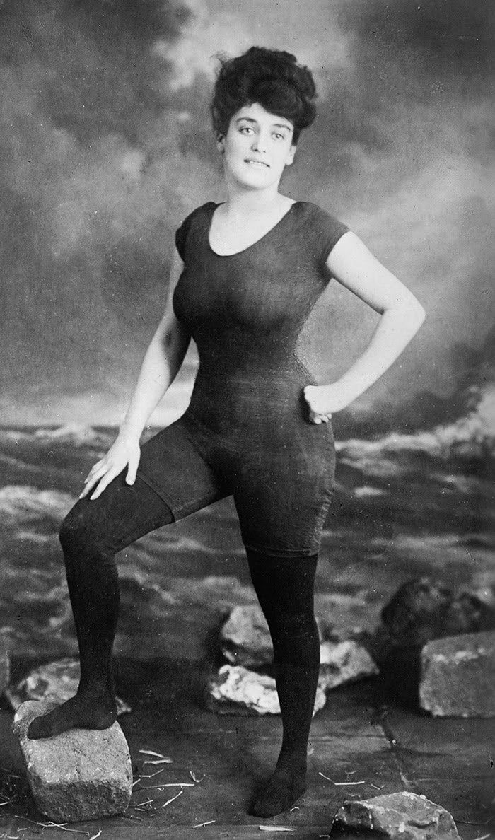 Annette Kellerman Promoted Women's Right To Wear A Fitted One-Piece Bathing Suit (1907). She Was Arrested For Indecency