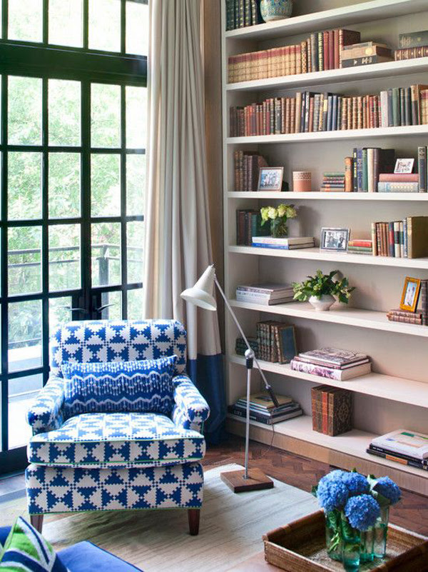 bright home library design ideas