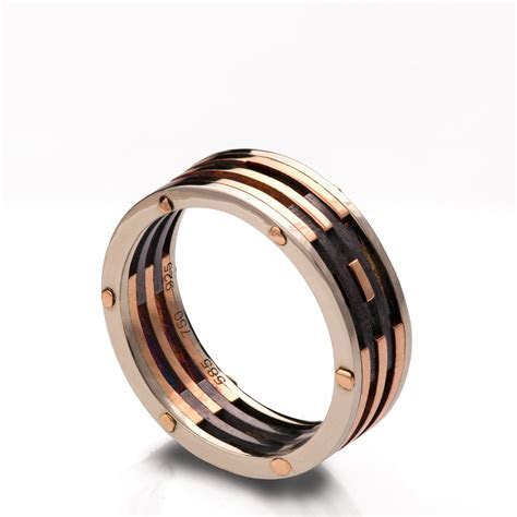 Gold Wedding Band Men's 18K Rose Gold and Oxidized Silver
