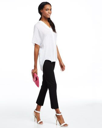 Neiman Marcus Lisa Side Zip Ankle Crop Pants