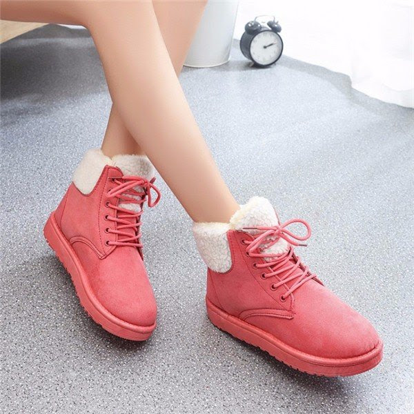 Folded Fur Lining Pure Color Lace Up Ankle Warm Snow Boots