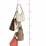 "mDesign 6 Hook Hanging Handbag & Accessory Holder/Frost - Pack of in Silver, 2.8"" x 2.1"" x 29.3"""