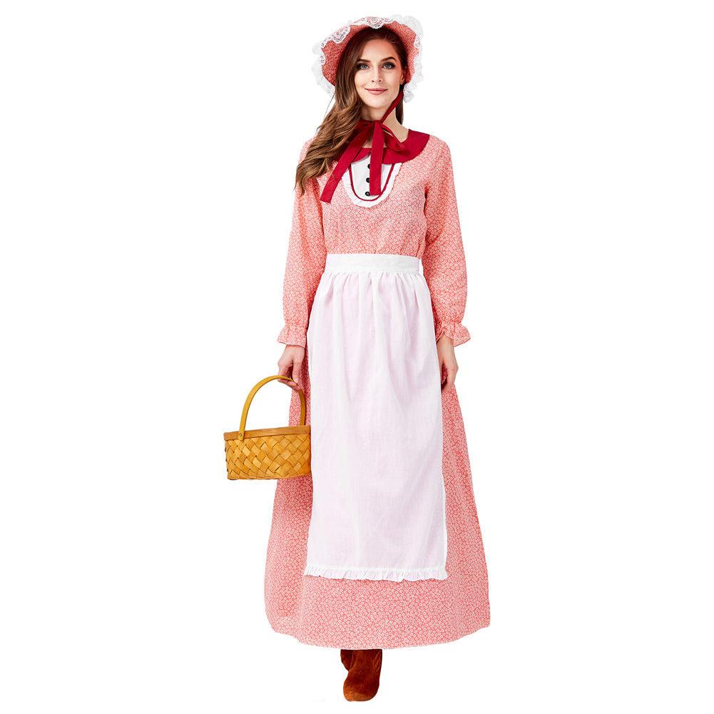 dienstmädchen kleidung damen frauen kleid cosplay erwachsene für halloween  karneval mottoparty koloniale kleidung rot