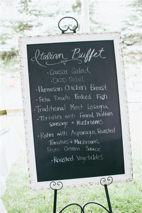 Large Chalkboard with italian wedding dinner menu. Callie