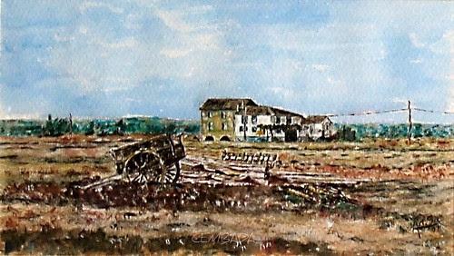 Carro y casas en Villafañe (León)