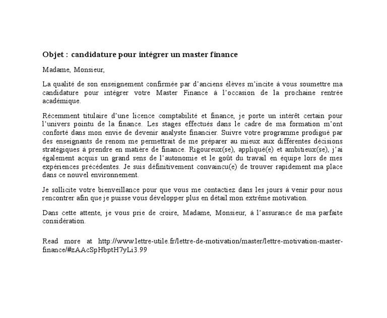 Exemple Lettre De Motivation Stage Finance - Le Meilleur ...