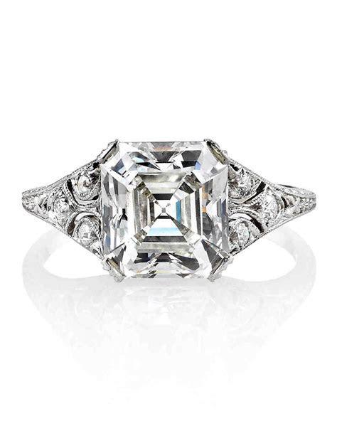 Asscher Cut Diamond Engagement Rings   Martha Stewart Weddings