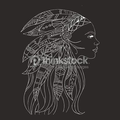 Tribal Indian Woman Tattoo And Tshirt Design Native American Woman