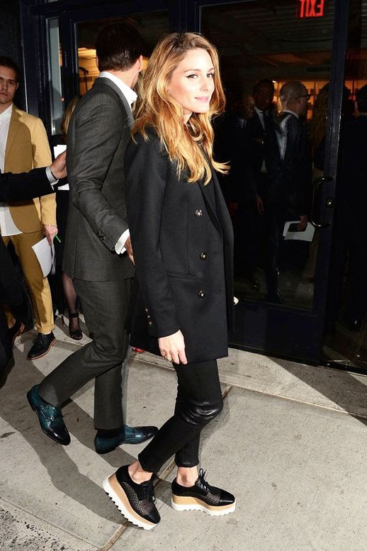 Le Fashion Blog Olivia Palermo Long Black Blazer Leather pants Stella McCartney Platform Oxfords Via Popsugar