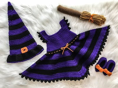 witch costume for baby#Free#Crochet #pattern link here
