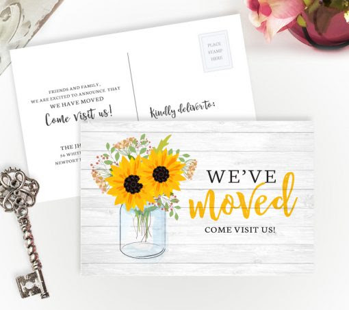Mason Jar We Have Moved Postcards | Personalized Moving Cards