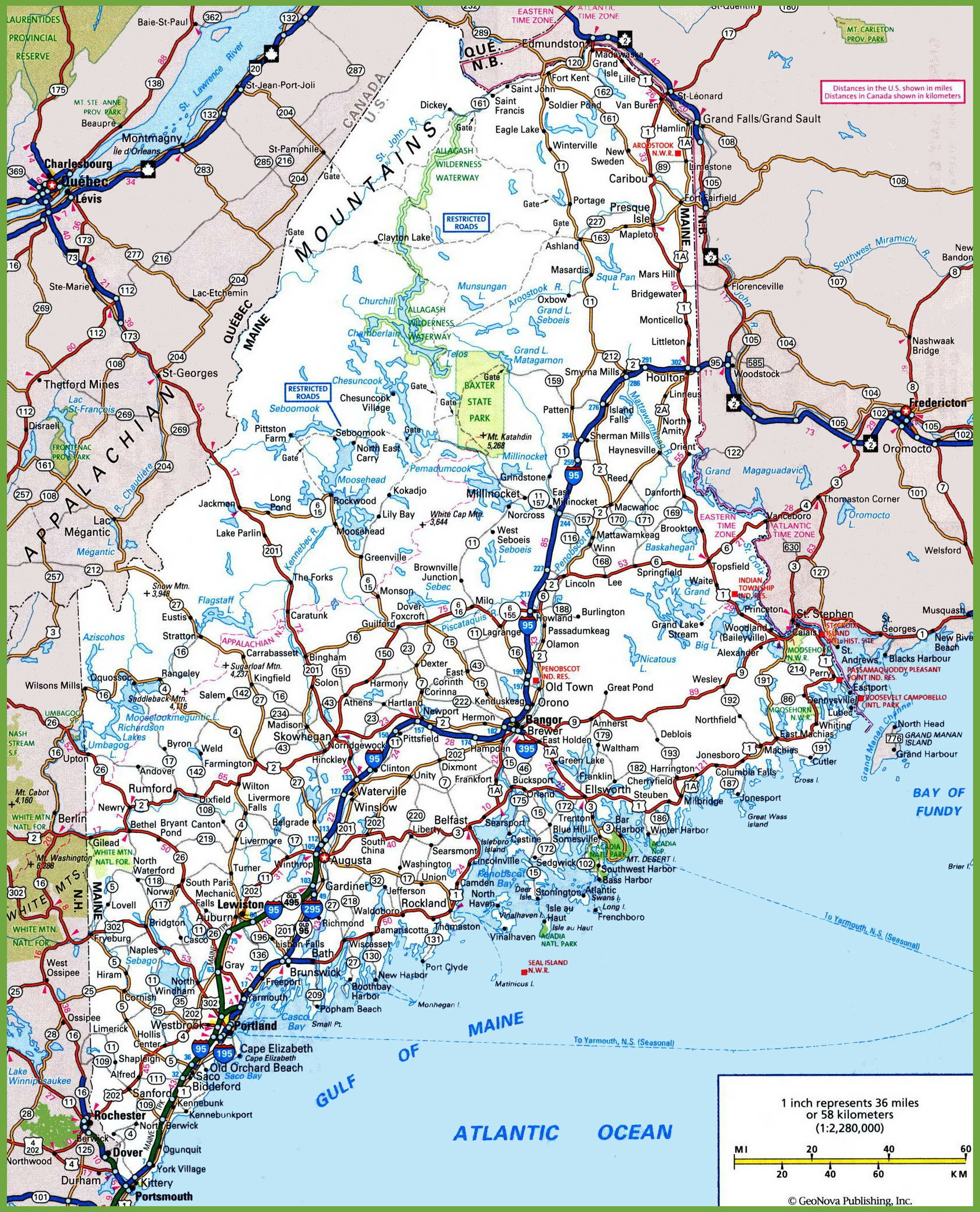 Road Map Of Maine Usa   Time Zones Map