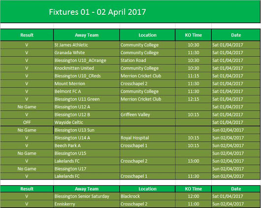 BFC Fixtures for 1st-2nd Apr