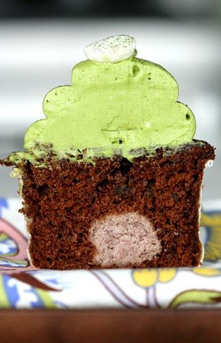 Adzuki Bean Paste Filled Chocolate Cupcakes with Matcha Green Tea Frosting