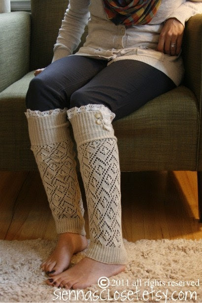 The Lacey Lou-Natural: Open-work Legwarmers with Ivory knit Lace trim & buttons (item no. 3-14)