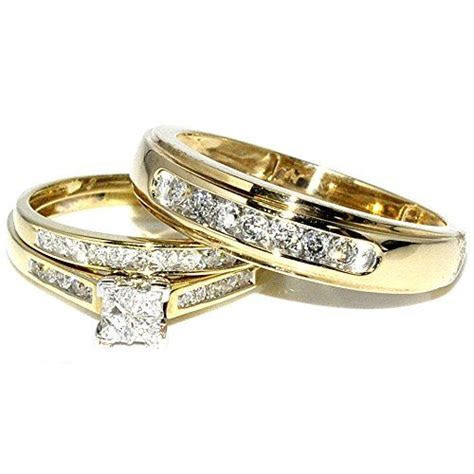 Princess Cut Trio Wedding Rings Set His and Hers Diamonds