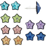 Star Stud Earring Set with Steel Posts and Rhinestone Center Pack of 6 Pair