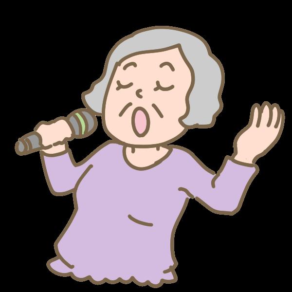 健康カラオケおばあさんのイラスト かわいいフリー素材が無料の