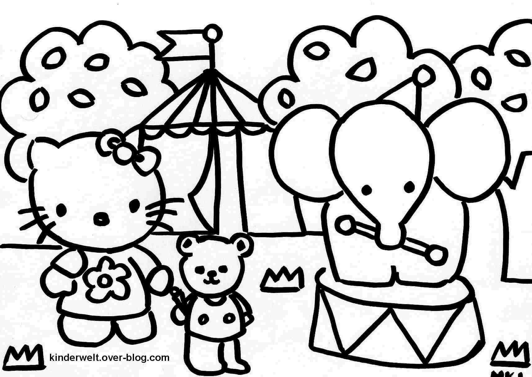 Coloriage  imprimer Personnages cél¨bres Hello Kitty numéro